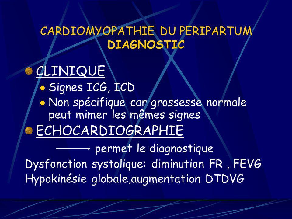 CARDIOMYOPATHIE DU PERIPARTUM DIAGNOSTIC CLINIQUE Signes ICG, ICD Non spécifique car grossesse normale peut mimer les mêmes signes ECHOCARDIOGRAPHIE p