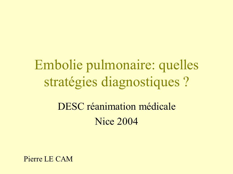 Embolie pulmonaire: quelles stratégies diagnostiques ? DESC réanimation médicale Nice 2004 Pierre LE CAM