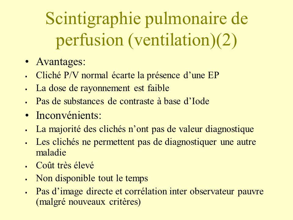 Scintigraphie pulmonaire de perfusion (ventilation)(2) Avantages: Cliché P/V normal écarte la présence dune EP La dose de rayonnement est faible Pas d