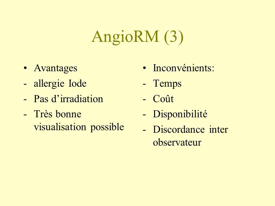 AngioRM (3) Avantages -allergie Iode -Pas dirradiation -Très bonne visualisation possible Inconvénients: -Temps -Coût -Disponibilité -Discordance inte