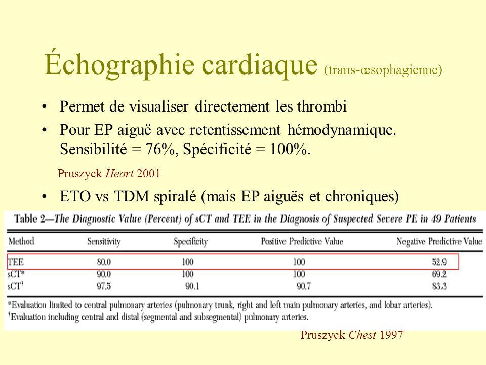 Échographie cardiaque (trans-œsophagienne) Permet de visualiser directement les thrombi Pour EP aiguë avec retentissement hémodynamique. Sensibilité =