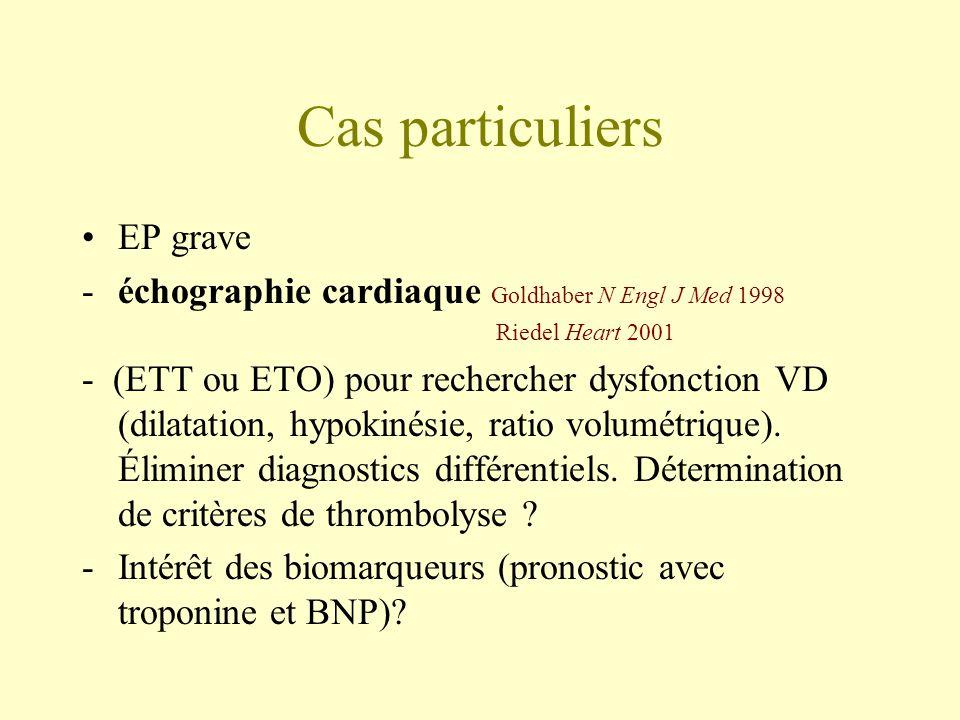 Cas particuliers EP grave -échographie cardiaque Goldhaber N Engl J Med 1998 Riedel Heart 2001 - (ETT ou ETO) pour rechercher dysfonction VD (dilatati
