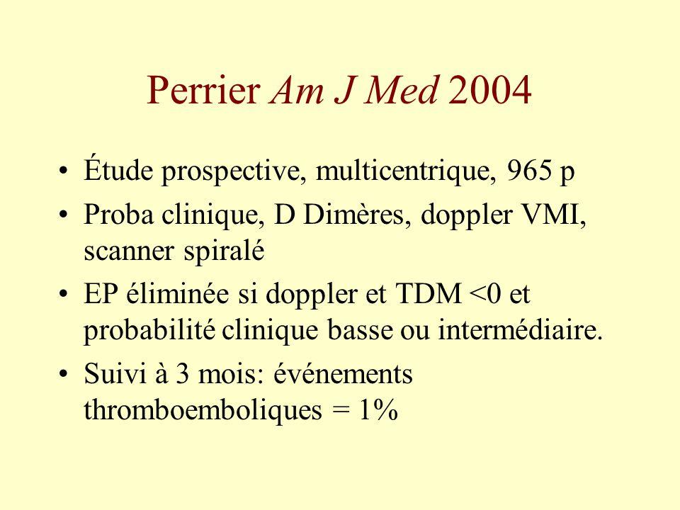 Perrier Am J Med 2004 Étude prospective, multicentrique, 965 p Proba clinique, D Dimères, doppler VMI, scanner spiralé EP éliminée si doppler et TDM <
