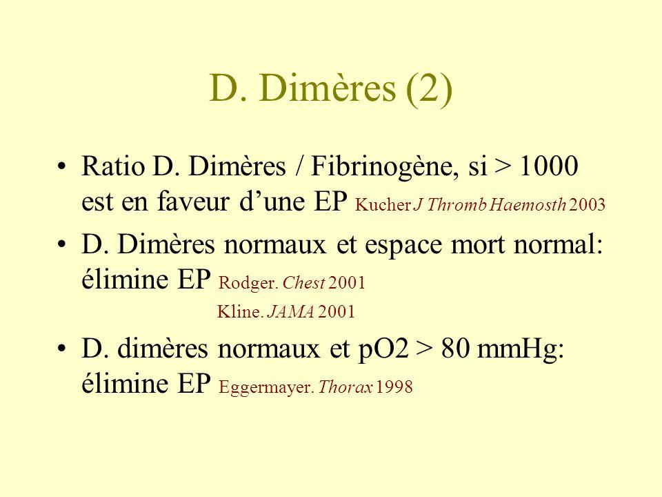 D. Dimères (2) Ratio D. Dimères / Fibrinogène, si > 1000 est en faveur dune EP Kucher J Thromb Haemosth 2003 D. Dimères normaux et espace mort normal: