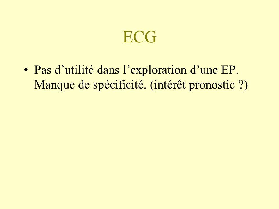 ECG Pas dutilité dans lexploration dune EP. Manque de spécificité. (intérêt pronostic ?)