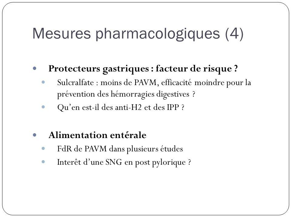 Mesures pharmacologiques (4) Protecteurs gastriques : facteur de risque ? Sulcralfate : moins de PAVM, efficacité moindre pour la prévention des hémor