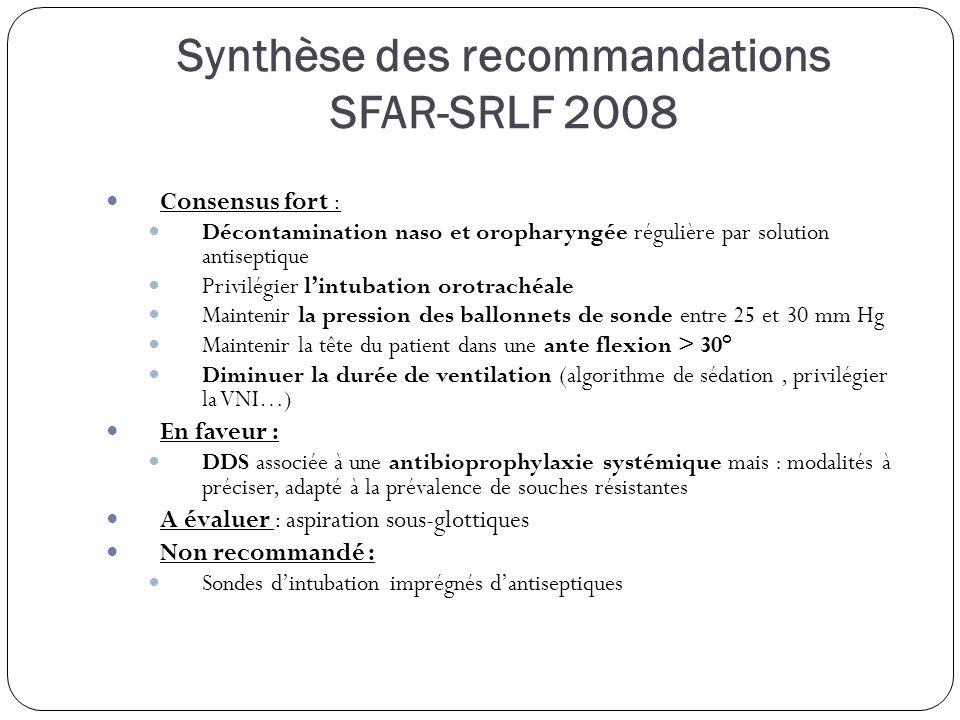 Synthèse des recommandations SFAR-SRLF 2008 Consensus fort : Décontamination naso et oropharyngée régulière par solution antiseptique Privilégier lintubation orotrachéale Maintenir la pression des ballonnets de sonde entre 25 et 30 mm Hg Maintenir la tête du patient dans une ante flexion > 30° Diminuer la durée de ventilation (algorithme de sédation, privilégier la VNI…) En faveur : DDS associée à une antibioprophylaxie systémique mais : modalités à préciser, adapté à la prévalence de souches résistantes A évaluer : aspiration sous-glottiques Non recommandé : Sondes dintubation imprégnés dantiseptiques