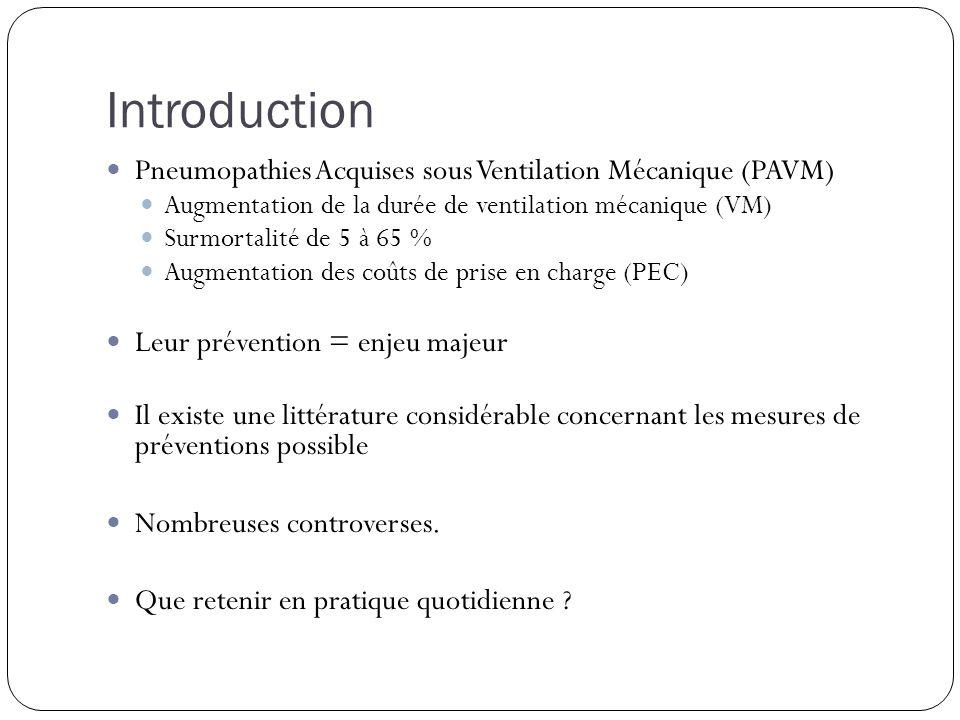Introduction Pneumopathies Acquises sous Ventilation Mécanique (PAVM) Augmentation de la durée de ventilation mécanique (VM) Surmortalité de 5 à 65 %