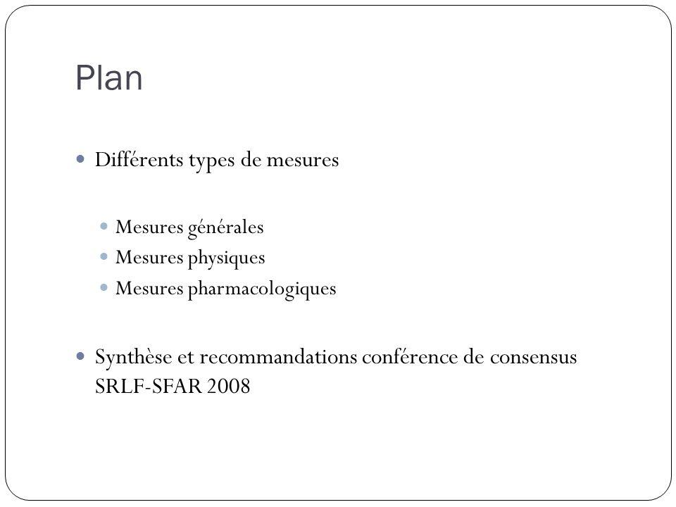 Plan Différents types de mesures Mesures générales Mesures physiques Mesures pharmacologiques Synthèse et recommandations conférence de consensus SRLF-SFAR 2008