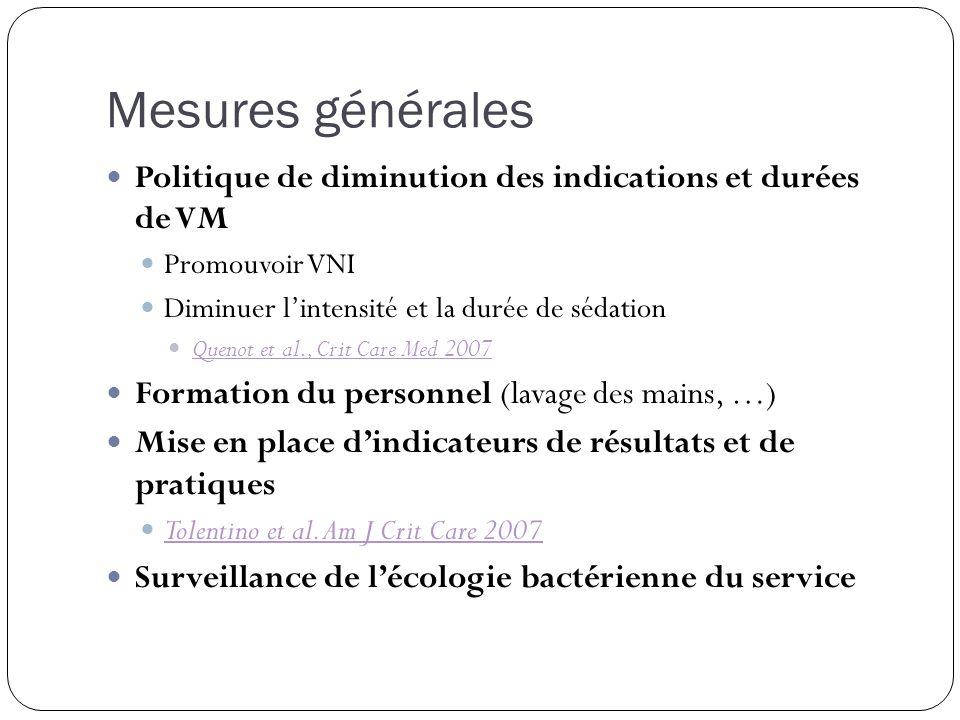 Politique de diminution des indications et durées de VM Promouvoir VNI Diminuer lintensité et la durée de sédation Quenot et al., Crit Care Med 2007 F