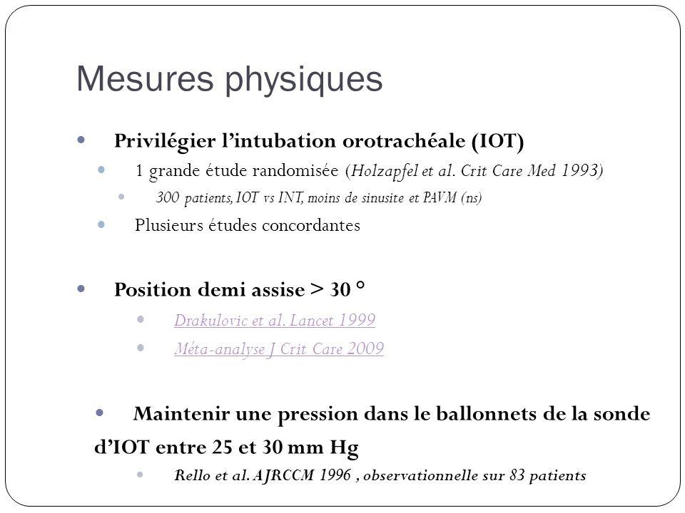 Privilégier lintubation orotrachéale (IOT) 1 grande étude randomisée (Holzapfel et al. Crit Care Med 1993) 300 patients, IOT vs INT, moins de sinusite