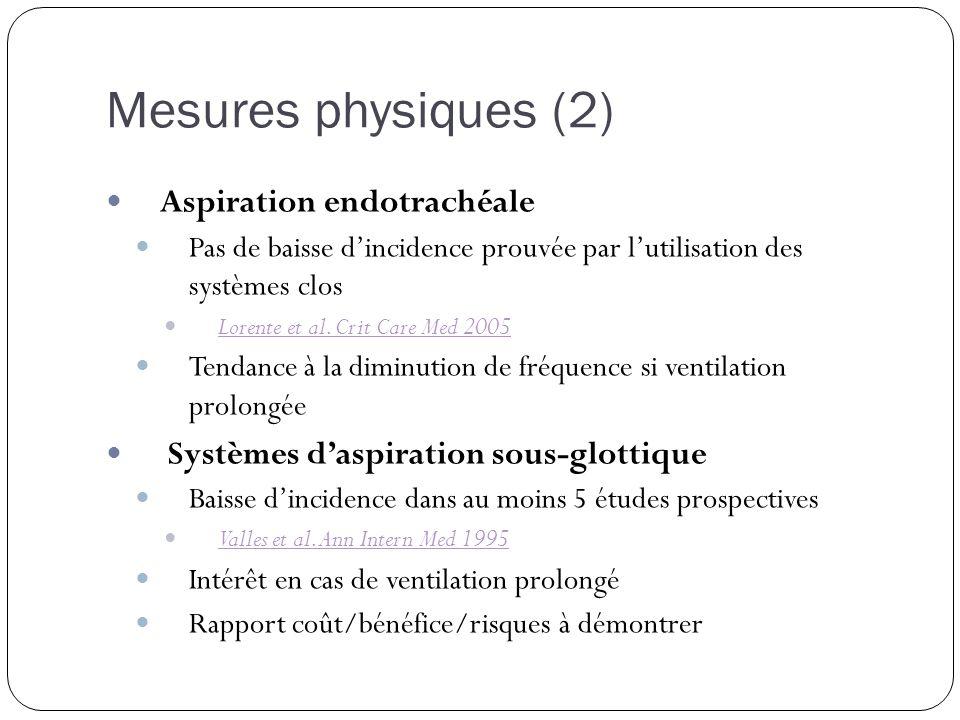 Mesures physiques (2) Aspiration endotrachéale Pas de baisse dincidence prouvée par lutilisation des systèmes clos Lorente et al. Crit Care Med 2005 T