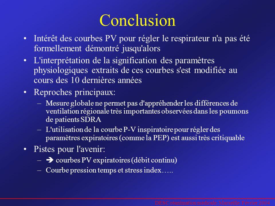 DESC réanimation médicale. Marseille. Février 2004 Conclusion Intérêt des courbes PV pour régler le respirateur n'a pas été formellement démontré jusq