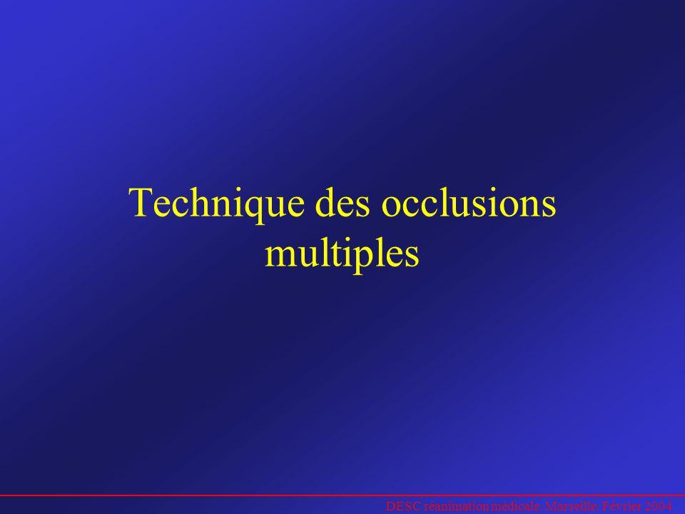 DESC réanimation médicale. Marseille. Février 2004 Technique des occlusions multiples