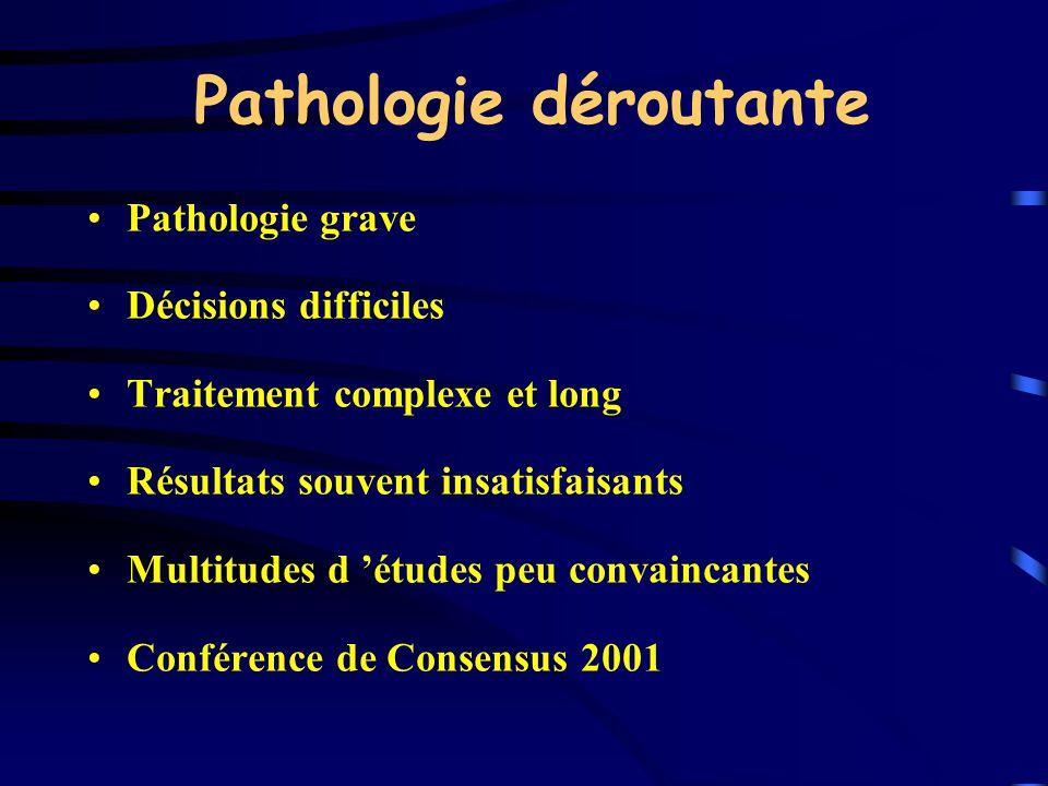 Pathologie déroutante Pathologie grave Décisions difficiles Traitement complexe et long Résultats souvent insatisfaisants Multitudes d études peu conv