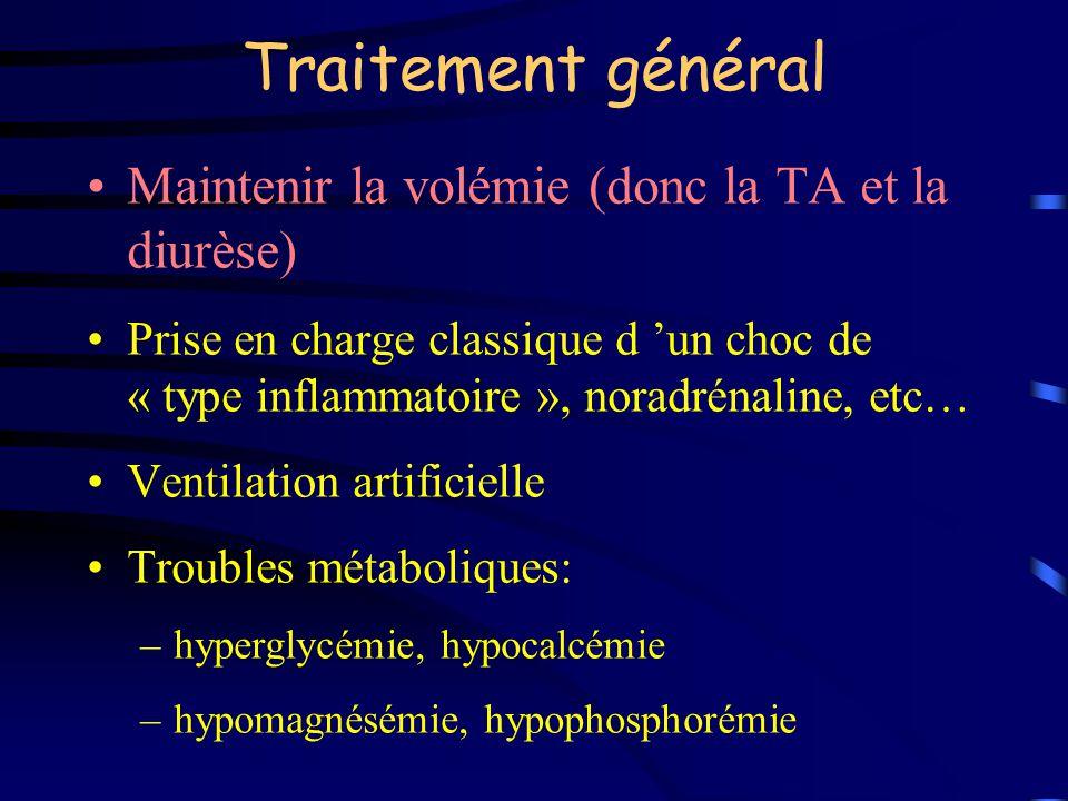 Traitement général Maintenir la volémie (donc la TA et la diurèse) Prise en charge classique d un choc de « type inflammatoire », noradrénaline, etc…