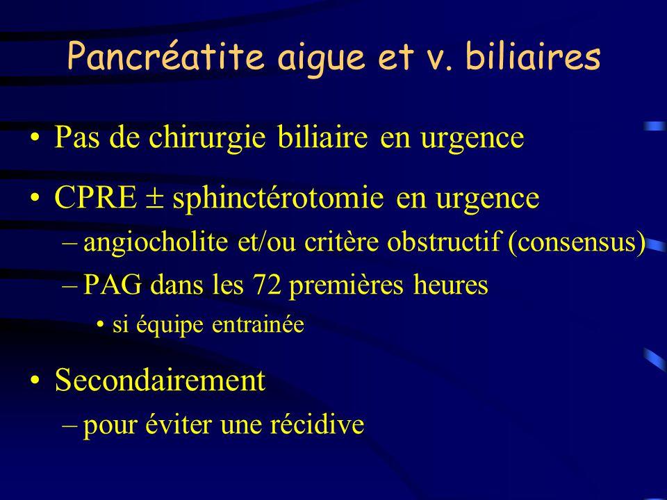 Pancréatite aigue et v. biliaires Pas de chirurgie biliaire en urgence CPRE sphinctérotomie en urgence –angiocholite et/ou critère obstructif (consens