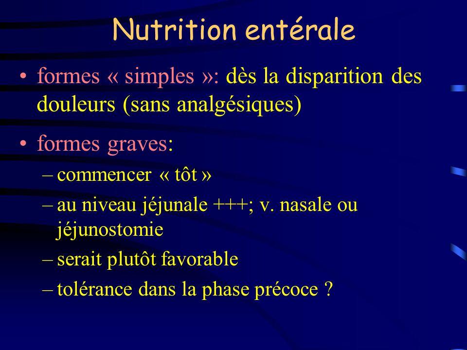 Nutrition entérale formes « simples »: dès la disparition des douleurs (sans analgésiques) formes graves: –commencer « tôt » –au niveau jéjunale +++;