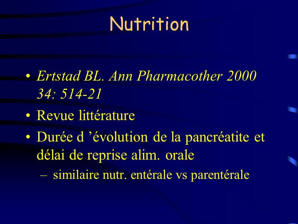 Nutrition Ertstad BL. Ann Pharmacother 2000 34: 514-21 Revue littérature Durée d évolution de la pancréatite et délai de reprise alim. orale – similai