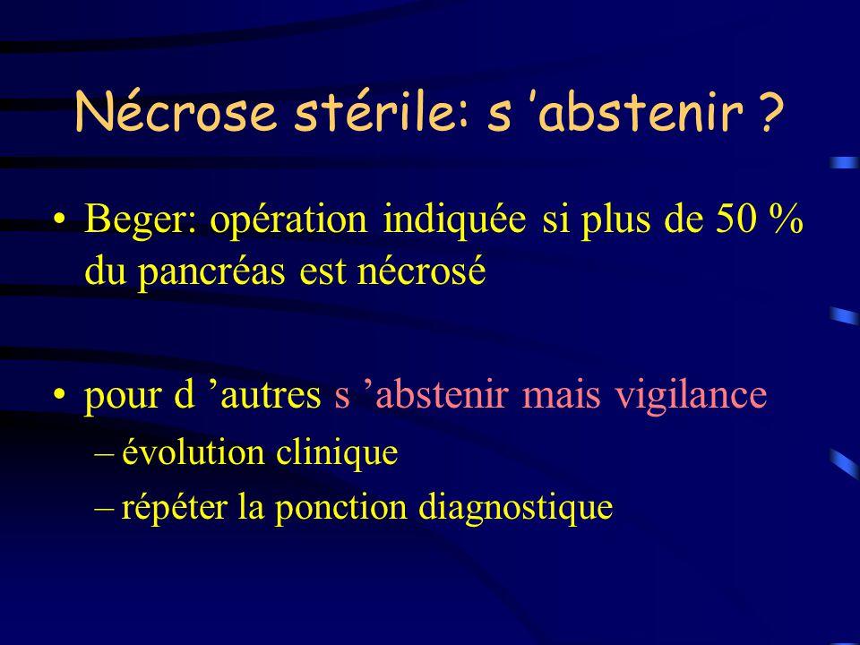 Nécrose stérile: s abstenir ? Beger: opération indiquée si plus de 50 % du pancréas est nécrosé pour d autres s abstenir mais vigilance –évolution cli