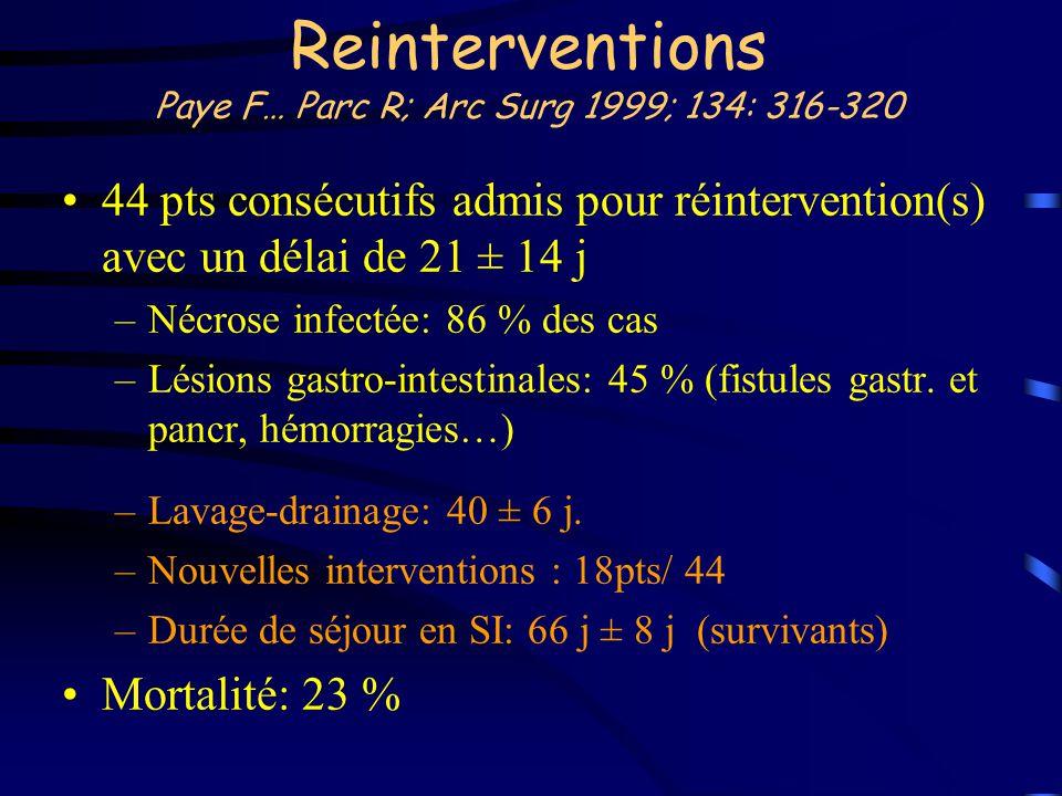 Reinterventions Paye F… Parc R; Arc Surg 1999; 134: 316-320 44 pts consécutifs admis pour réintervention(s) avec un délai de 21 ± 14 j –Nécrose infect