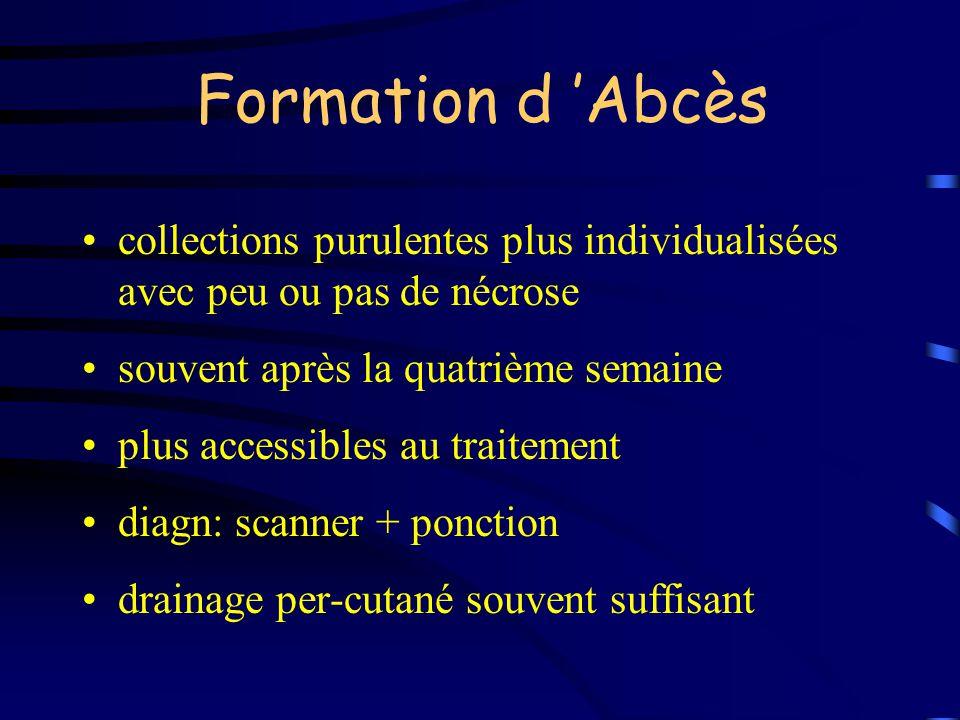 Formation d Abcès collections purulentes plus individualisées avec peu ou pas de nécrose souvent après la quatrième semaine plus accessibles au traite