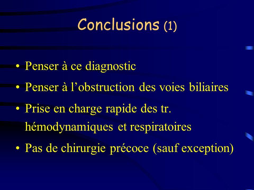 Conclusions (1) Penser à ce diagnostic Penser à lobstruction des voies biliaires Prise en charge rapide des tr. hémodynamiques et respiratoires Pas de