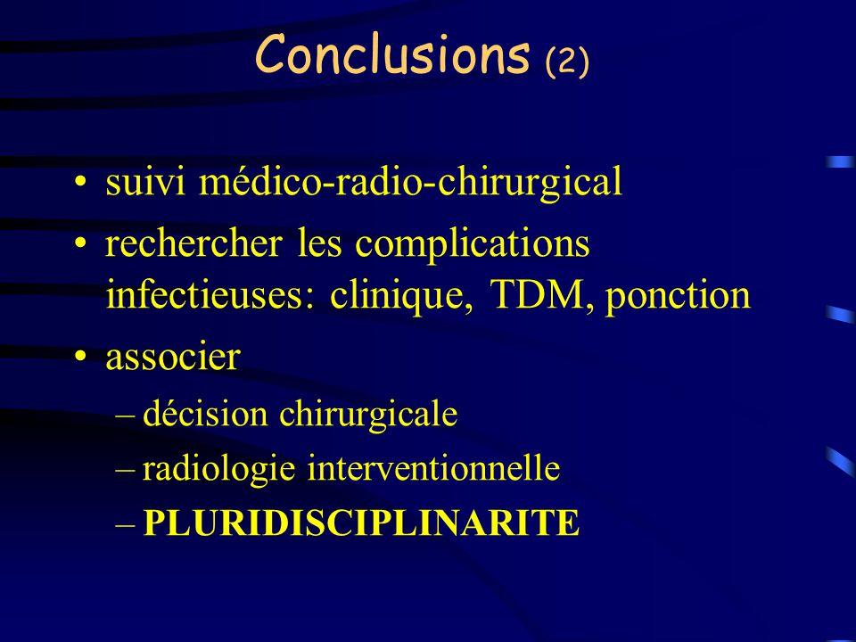 Conclusions (2) suivi médico-radio-chirurgical rechercher les complications infectieuses: clinique, TDM, ponction associer –décision chirurgicale –rad