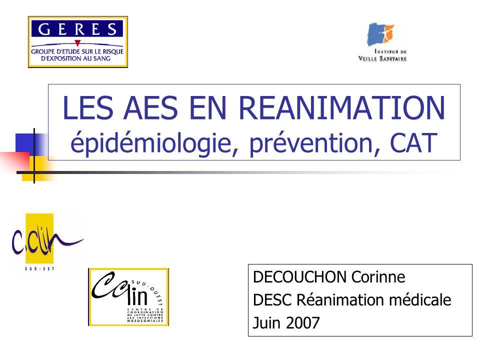 LES AES EN REANIMATION épidémiologie, prévention, CAT DECOUCHON Corinne DESC Réanimation médicale Juin 2007