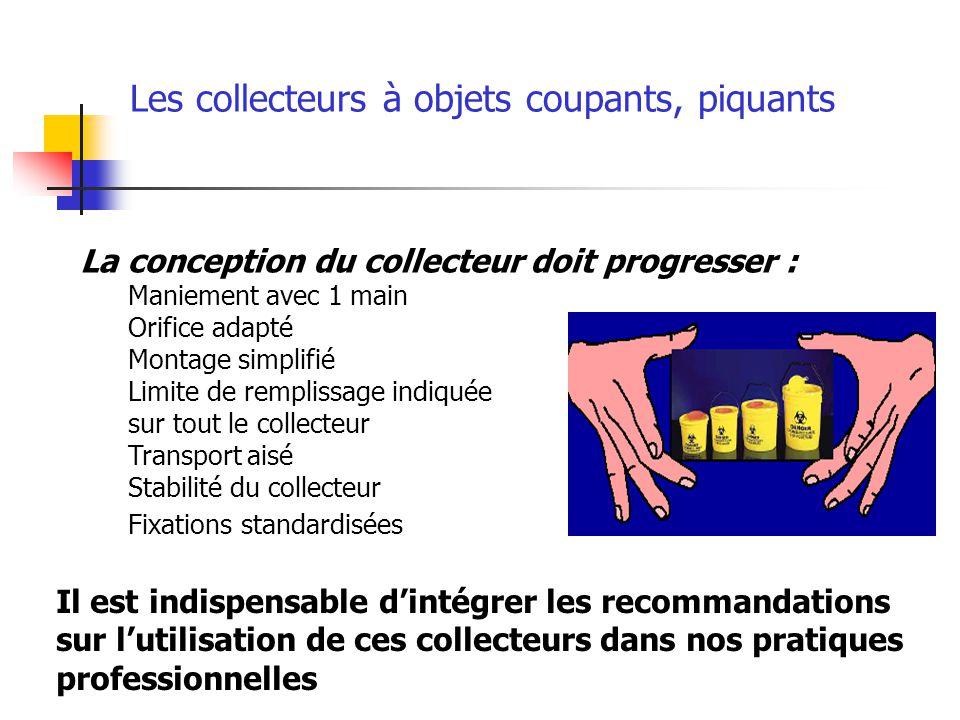 La conception du collecteur doit progresser : Maniement avec 1 main Orifice adapté Montage simplifié Limite de remplissage indiquée sur tout le collec