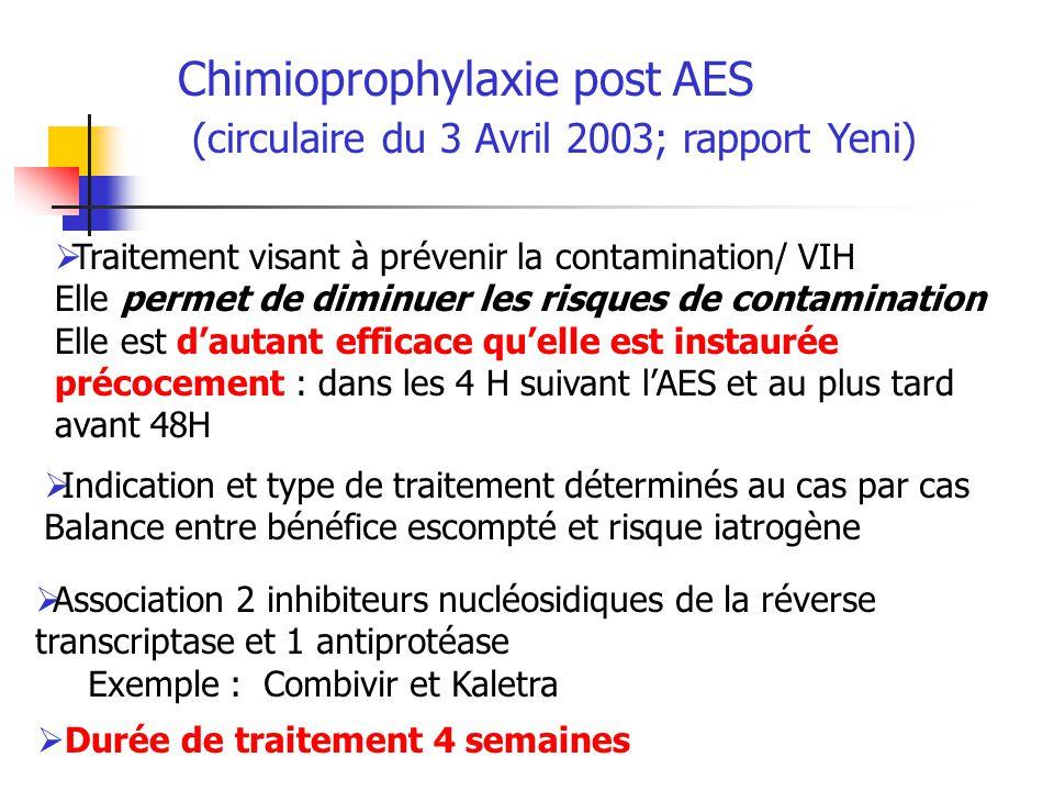 Chimioprophylaxie post AES (circulaire du 3 Avril 2003; rapport Yeni) Traitement visant à prévenir la contamination/ VIH Elle permet de diminuer les r
