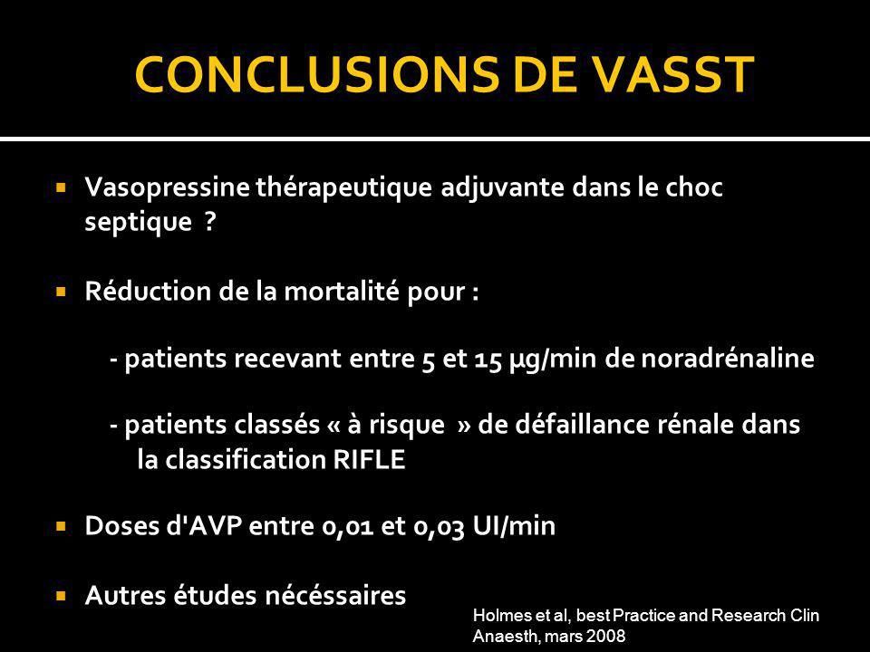 CONCLUSIONS DE VASST Vasopressine thérapeutique adjuvante dans le choc septique ? Réduction de la mortalité pour : - patients recevant entre 5 et 15 µ