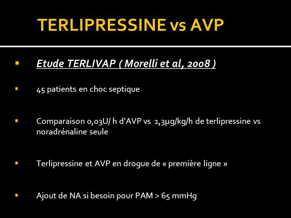 TERLIPRESSINE vs AVP Etude TERLIVAP ( Morelli et al, 2008 ) 45 patients en choc septique Comparaison 0,03U/ h d'AVP vs 1,3µg/kg/h de terlipressine vs