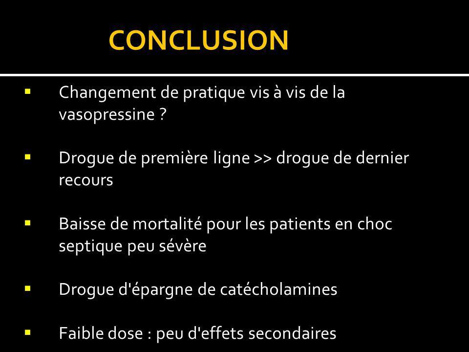 CONCLUSION Changement de pratique vis à vis de la vasopressine ? Drogue de première ligne >> drogue de dernier recours Baisse de mortalité pour les pa