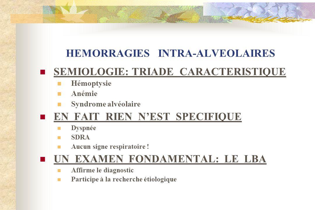 HEMORRAGIES INTRA-ALVEOLAIRES SEMIOLOGIE: TRIADE CARACTERISTIQUE Hémoptysie Anémie Syndrome alvéolaire EN FAIT RIEN NEST SPECIFIQUE Dyspnée SDRA Aucun