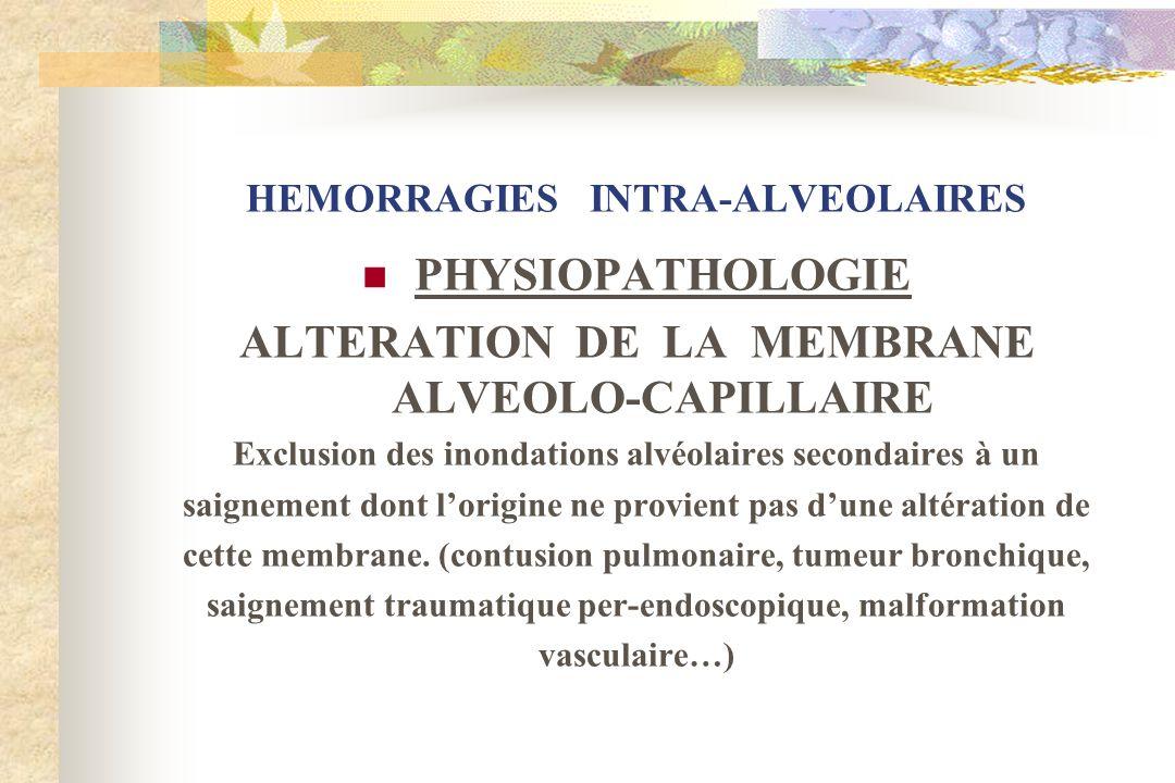 HEMORRAGIES INTRA-ALVEOLAIRES PHYSIOPATHOLOGIE ALTERATION DE LA MEMBRANE ALVEOLO-CAPILLAIRE Exclusion des inondations alvéolaires secondaires à un sai