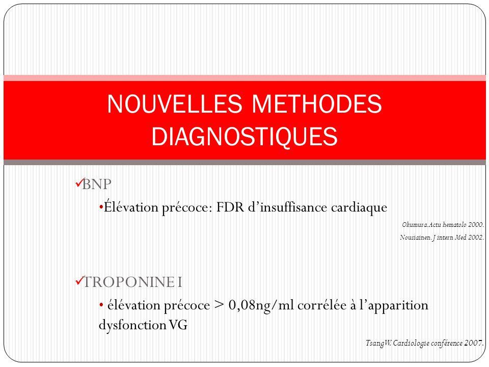 BNP Élévation précoce: FDR dinsuffisance cardiaque Okumura. Actu hematolo 2000. Nousiainen. J intern Med 2002. TROPONINE I élévation précoce > 0,08ng/