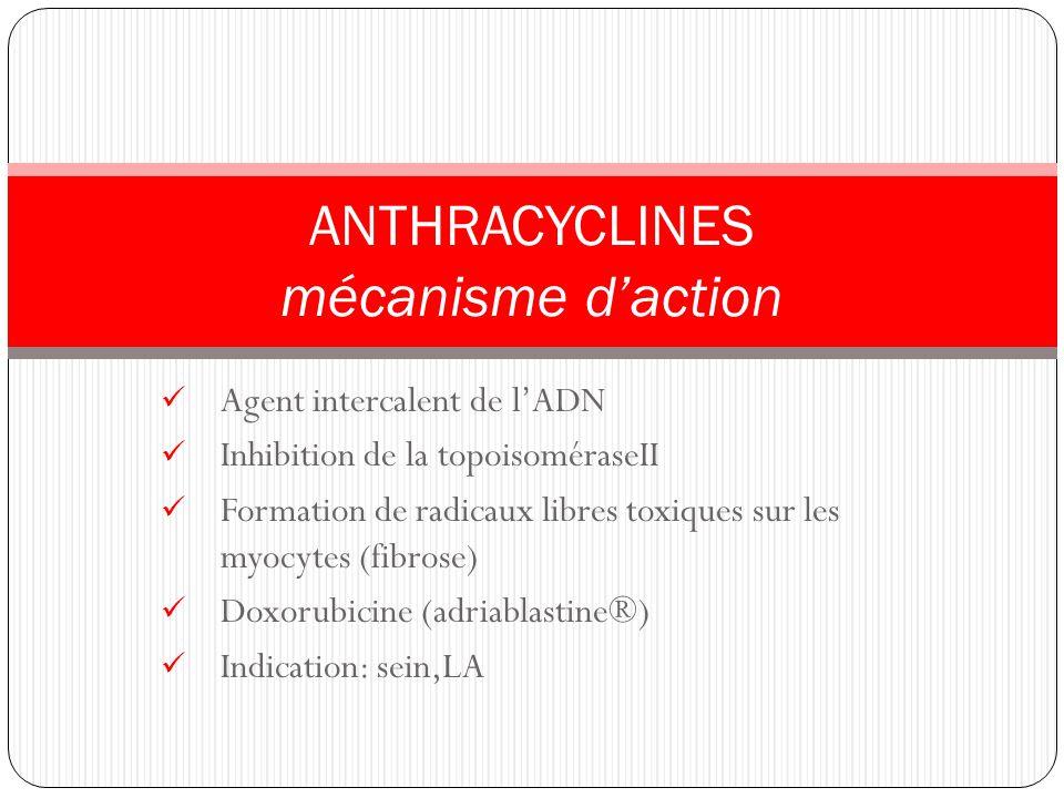 Agent intercalent de lADN Inhibition de la topoisoméraseII Formation de radicaux libres toxiques sur les myocytes (fibrose) Doxorubicine (adriablastin
