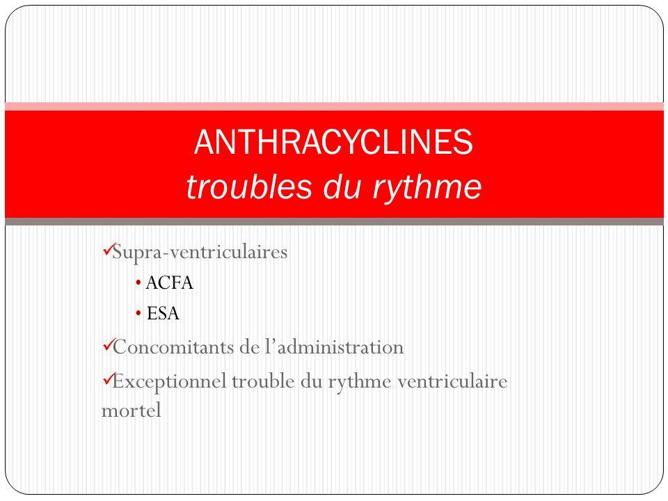 Supra-ventriculaires ACFA ESA Concomitants de ladministration Exceptionnel trouble du rythme ventriculaire mortel ANTHRACYCLINES troubles du rythme