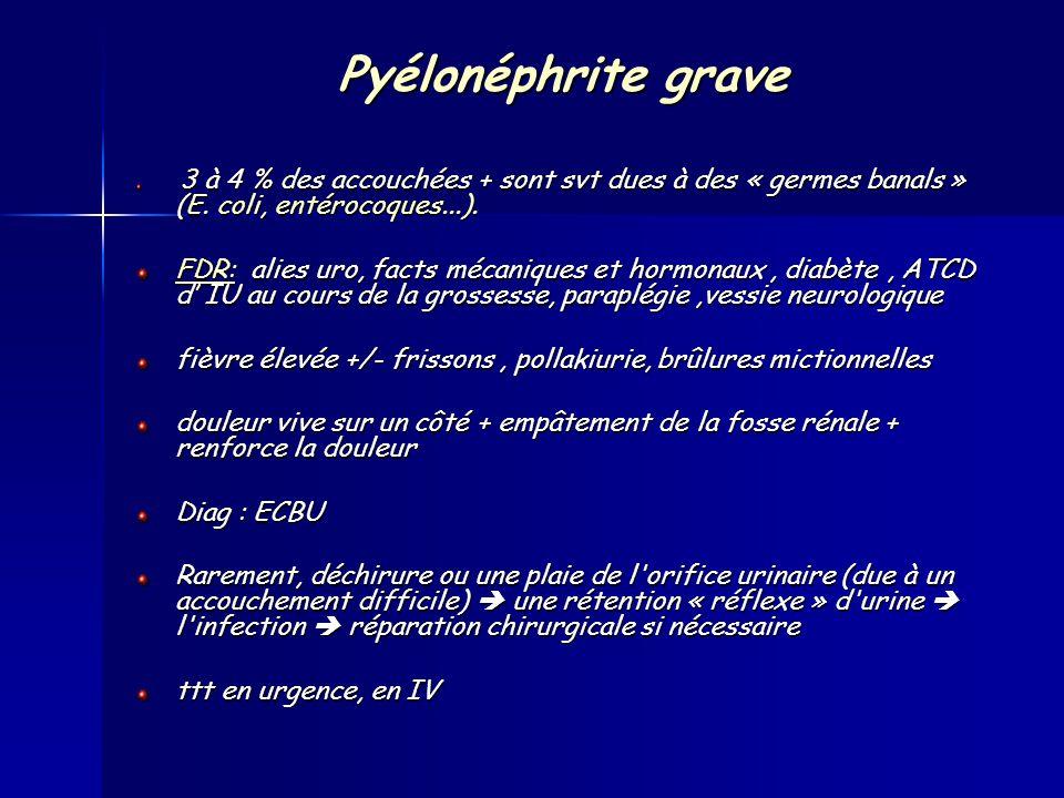 Pyélonéphrite grave 3 à 4 % des accouchées + sont svt dues à des « germes banals » (E.