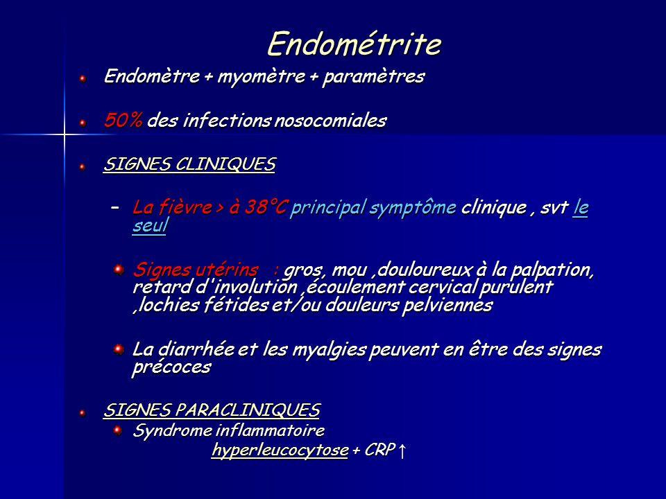 Endométrite Endomètre + myomètre + paramètres 50% des infections nosocomiales SIGNES CLINIQUES –La fièvre > à 38°C principal symptôme clinique, svt le seul Signes utérins : gros, mou,douloureux à la palpation, retard d involution,écoulement cervical purulent,lochies fétides et/ou douleurs pelviennes La diarrhée et les myalgies peuvent en être des signes précoces SIGNES PARACLINIQUES Syndrome inflammatoire hyperleucocytosehyperleucocytose + CRP hyperleucocytose + CRP hyperleucocytose