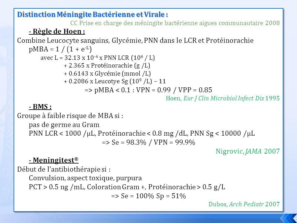 Distinction Méningite Bactérienne et Virale : CC Prise en charge des méningite bactérienne aigues communautaire 2008 - Règle de Hoen : Combine Leucocy