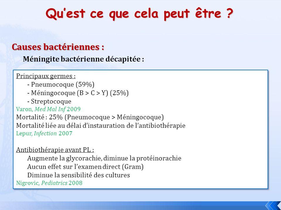Quest ce que cela peut être ? Méningite bactérienne décapitée : Causes bactériennes : Principaux germes : - Pneumocoque (59%) - Méningocoque (B > C >