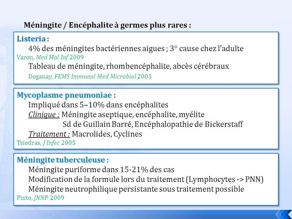 Méningite / Encéphalite à germes plus rares : Listeria : 4% des méningites bactériennes aigues ; 3° cause chez ladulte Varon, Med Mal Inf 2009 Tableau