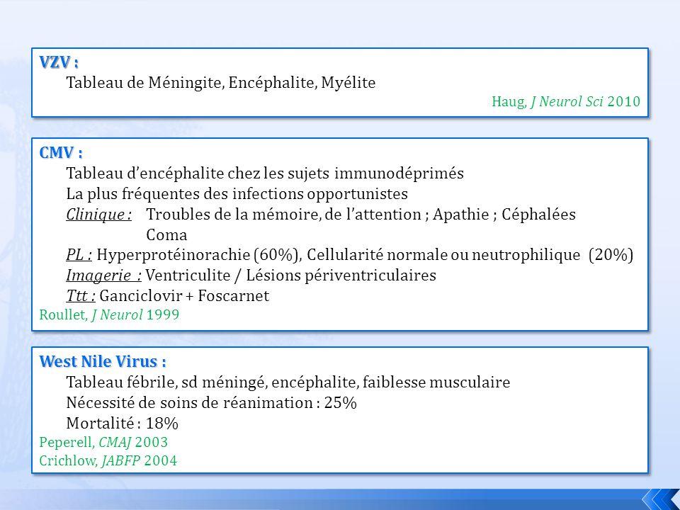 VZV : Tableau de Méningite, Encéphalite, Myélite Haug, J Neurol Sci 2010 VZV : Tableau de Méningite, Encéphalite, Myélite Haug, J Neurol Sci 2010 West