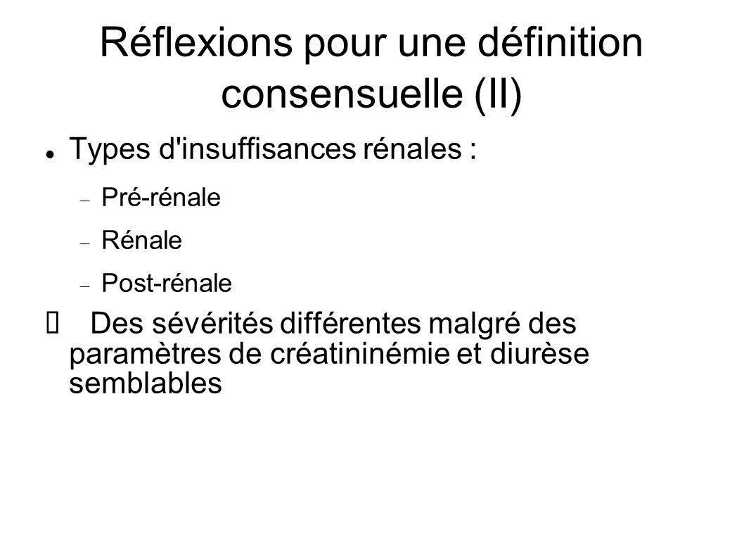 Réflexions pour une définition consensuelle (II) Types d insuffisances rénales : Pré-rénale Rénale Post-rénale Des sévérités différentes malgré des paramètres de créatininémie et diurèse semblables