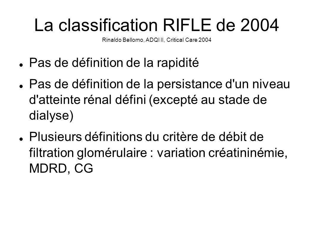 La classification RIFLE de 2004 Rinaldo Bellomo, ADQI II, Critical Care 2004 Pas de définition de la rapidité Pas de définition de la persistance d un niveau d atteinte rénal défini (excepté au stade de dialyse) Plusieurs définitions du critère de débit de filtration glomérulaire : variation créatininémie, MDRD, CG
