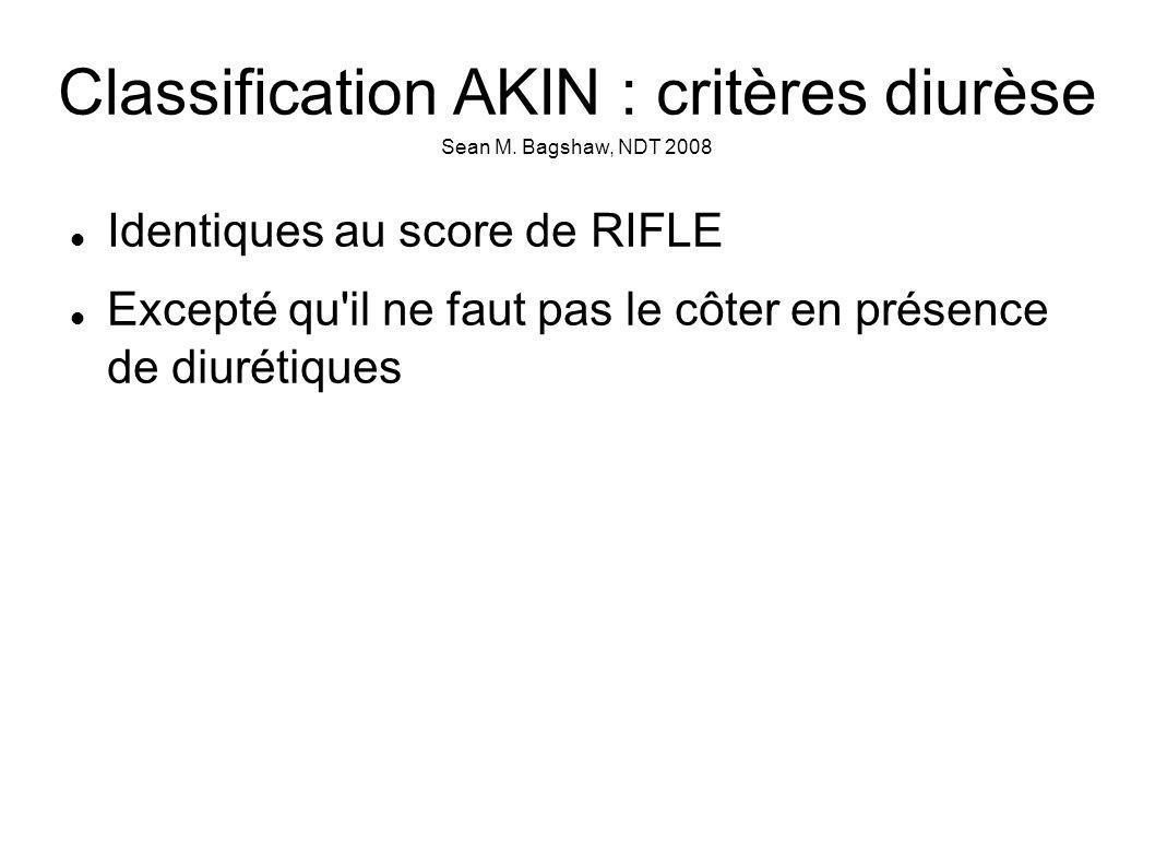 Classification AKIN : critères diurèse Sean M.