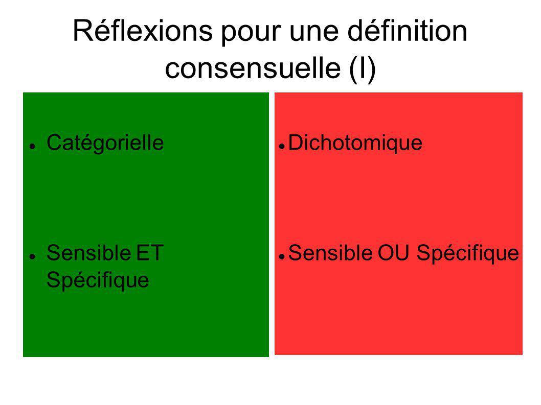 Réflexions pour une définition consensuelle (I) Catégorielle Sensible ET Spécifique Dichotomique Sensible OU Spécifique
