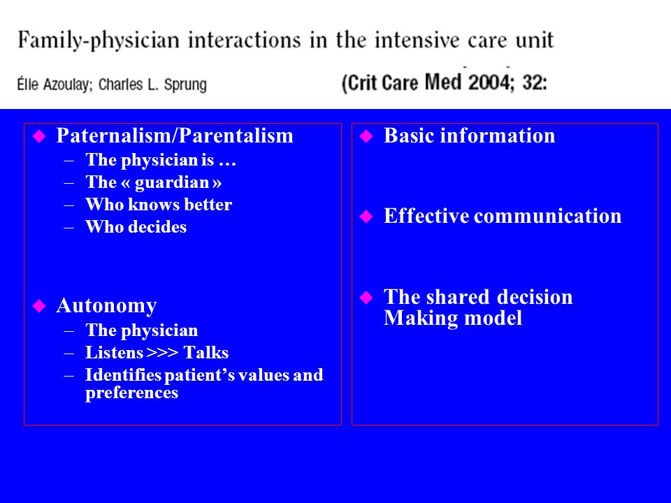 u Liberalizing ICU visiting hours generates resistance among some nurses and physicians: –Increase physiologic stress; but, nurses cause more stress than families –Interference with the provision of care: family might serve as a helpful support, increase family education and facilitating communication with clinicians –Physical and mental exhaustion of family and friends: oppsotite has been shown